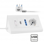 Multipresa Polivalente con USB da Scrivania