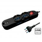 Multipla con prese Schuko e USB, con interruttore luminoso