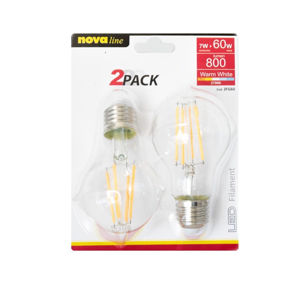 Novaline Lampadine Goccia LED Filamento Clear 7W - Equivalente a 60W (2 pz.)