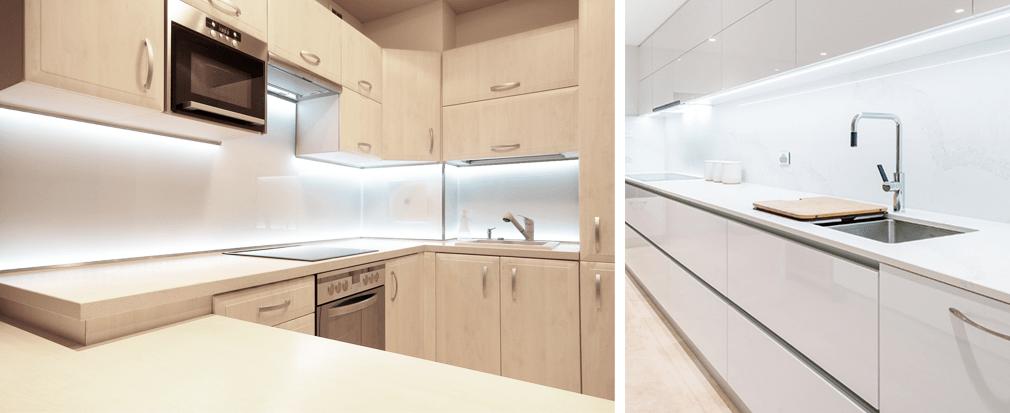 Illuminazione cucina con strip led e regeltte